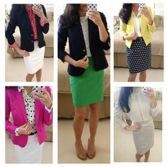 Pencil skirt, pretty blouse, blazer and nude pumps. Works any time. // Spring work outfit ideas
