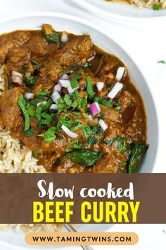 MELT IN YOUR MOUTH Slow Cooker Beef Curry is a simple, prepare ahead midweek meal. A light, healthy and low fat 'fakeaway' curry. #crockpotrecipe #slowcookerrecipe #beefcurry #curryrecipe #tamingtwins Slow Cooker Beef Curry, Slow Cooked Beef, Slow Cooker Recipes, Meat Recipes, Crockpot Recipes, Midweek Meals, Easy Meals, Family Recipes, Family Meals