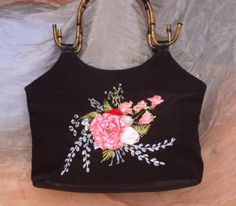 Summer bag hand embroidered by SilkRibbonembroidery on Etsy, €25.00