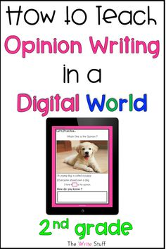 Using technology in or out of the classroom to teach writing can be tricky.  Here are 5 tips to help you use digital resources to teach opinion writing to second grade children. Beyond the writing prompt, these tips will help you teach engaging lessons. #distancelearning #secondgradewritingactivities #literacycenters