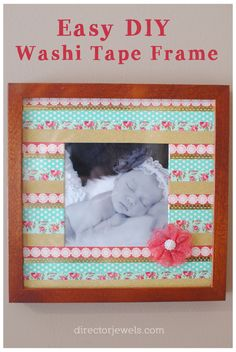 DIY Washi Tape Frame - Easy Photo Gift Idea with #FreePrints #FreePhotos from @shutterfly at directorjewels.com #ad