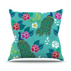 """Kess InHouse Anneline Sophia """"Mexican Peacock"""" Teal Rainbow Outdoor Throw Pillow, 26 by 26-Inch"""