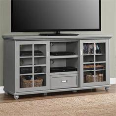 Belham living hampton 55 inch tv stand white tv stands for Furniture of america danbury modern