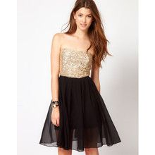 Club L Sequin Bandeau Dress With Chiffon Skirt
