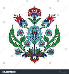 Ottoman iznik tile with carnation and tulip flowers. Islamic decoration design for textile embroidery or interior decor. Turkish Pattern, Arabic Pattern, Turkish Art, Turkish Tiles, Motif Design, Pattern Design, Tile Design, Elements Of Design, Tile Art