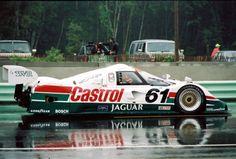 Jag in the rain Road Race Car, Road Racing, Race Cars, Jaguar Pictures, Car Pictures, Le Mans, Lemans Car, Sports Car Racing, Auto Racing