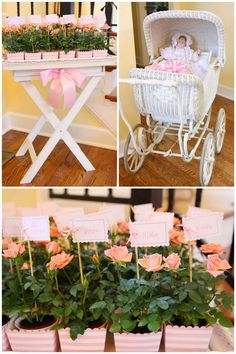 Una decoración de baby shower para niña