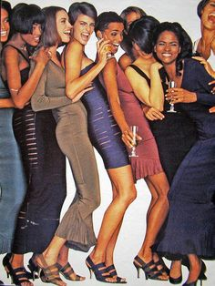 """Naomi, Christy, Linda, Beverly and more....""""Many years ago, in a land not so far away, two designers went head to head in a controversy over bandages. The era was the '80s. The land was Paris.The designers were Azzedine Alaïa and Hervé Léger. The bandages in question were in the form of dresses. Léger worked for Alaïa (although this isn't listed in the current bio on the Hervé website) and Alaïa claimed he copied his designs."""""""