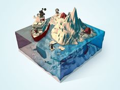 Nice polar themed low poly scene, especially like the whales in the water.