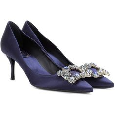 Roger Vivier Flower Embellished Satin Pumps ($1,740) ❤ liked on Polyvore featuring shoes, pumps, blue, embellished pumps, decorating shoes, roger vivier, embellished shoes and satin shoes