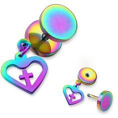 Unisex Earring Fake Plug Made of Surgical Steel Steel Heart with Cross Piercing Plug, Faux Piercing, Piercings, Faux Écarteurs, Fake Plugs, Gold Line, Black Rings, Silver Bracelets, Body Jewelry