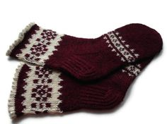 Hand knitted socks dark red white with pattern by VLapsaCrafts, $32.99