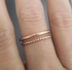 Rose Gold Ring Gold Twist Ring 2 stackable rings by bluebirdss, $28.00