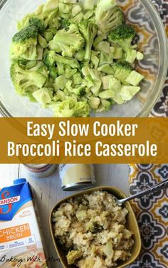 Make an Easy Slow Cooker Broccoli Rice Casserole side dish recipe! It's perfect for your holiday meal.
