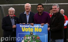 Former Scottish footballers backing the NO vote campaign (left to right) Celtic's Lisbon Lion Bertie Auld, Archie McPherson, Scottish Labour Deputy leader Anas Sarwar and Rangers favourite Ian Durrant at Football World in Glasgow.