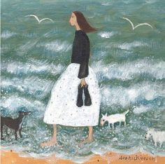 Girl With Three Dogs, a greeting card by Dee Nickerson