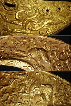 Saddle ornament. Gold, repousse and chased. Tibetan Tubo Empire, 7th-9th c. Private Collection.