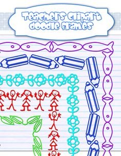 These 50 doodle frames are made for make stand out your educational documents. :::FOR COMMERCIAL USE:::...