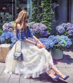 Just came across the beautiful blue and they matched my outfit💙✨ Paris Chic, Royal Dresses, Cute Dresses, Maxi Dresses, Mode Lolita, Holiday Outfits Women, Mode Kawaii, Looks Chic, Stylish Girl