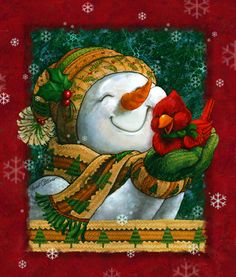 Snuggle in the Snow by Janet Stever ~ Christmas ~ winter ~ snowman ~ cardinal