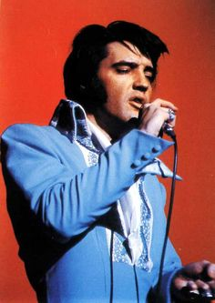 """This is one of the first jumpsuits Elvis ever wore. Most of these jumpsuits were white or like this one blue with some embroidery. The one above is often referred as the """" Blue Tapestry """" but equally named """" Blue Aqua suit """""""
