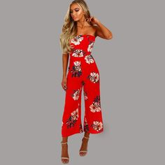 879c7c7430e Strapless Flower Print Wide Legs Long Jumpsuit
