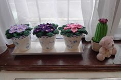 Flowers on windowsill with tutorial