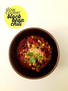 This black bean chili is made in a slow cooker (making it super easy to prepare) and it's packed with flavors and heartiness.