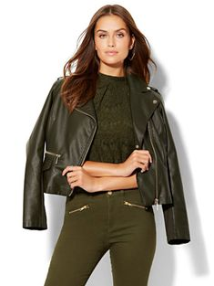 Shop Faux-Leather Moto Jacket . Find your perfect size online at the best price…