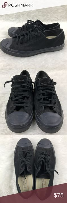 All Star Converse Jack Purcell Low Canvas Shoes Men 9.5.   Women 11  classic converse jack purcell signature shoes features black canvas, black sole, black toe and black shoes lace. Converse Shoes Sneakers