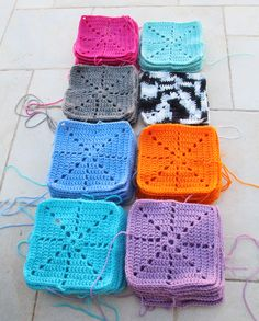 Crochet Squares For blanket. Make the squares quickly whenever you're bored, and eventually you just have to stitch them together to make a lovely quilt!