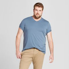 Men's Big & Tall Standard Fit Short Sleeve V-Neck T-Shirt - Goodfellow & Co Slate Blue 5XBT