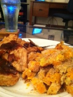 Sweet Potato Casserole and BBQ Turkey Cutlets.  I love sweet potato!