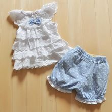 Kids Baby Girls Blue Polka Dot 2Pcs Top+Pants Outfits Costume Clothes 0-2Y (China (Mainland))