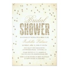 Gold Glitter Look Confetti Dots Bridal Shower Card