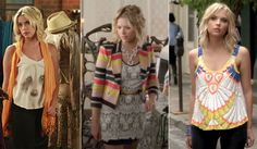 One of Hanna Marin's signature style options is the brights and blacks combination. Hanna will wear black pants, a black leather jacket, or a black skirt, then have the rest of her outfit in brights. This style is both girly and edgy, and makes her stand out from the crowd.