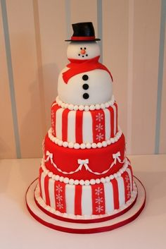Snowman Christmas Cake  By: StrawberryLaneCakeCompany  URL: 	http://cakecentral.com/gallery/2225018/snowman-christmas-cake