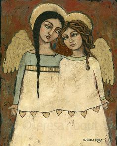 Wall Decor Wall Art Angel Friendship print by teresakogut Angeles, Teresa, Angels Among Us, Arte Popular, Art Mural, Angel Art, Illustrations, Wood Print, Wall Art Decor