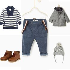Baby boy winter outfit idea. H&M blue and white striped sweater with Zara jeans, grey hat, grey jacket and camel boots. 2016 autumn collection.