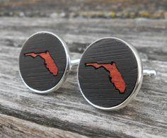 Wood Inlay FLORIDA State Cufflinks. Laser Engraved. Wedding, Men's, Groomsmen Gift, Dad. Custom Orders Welcome. Miami, Beach by TreeTownPaper on Etsy