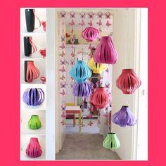 Lanternas para decorar de cartolina ou EVA