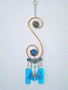 Stained Glass Wind Chime Suncatcher Garden Decor Hammered Copper Blue Turquoise OOAK Yard Art. $32,00, via Etsy.