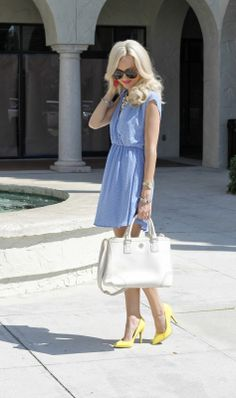 blue dress + yellow pumps + statement necklace + white bag (A Spoonful of Style)