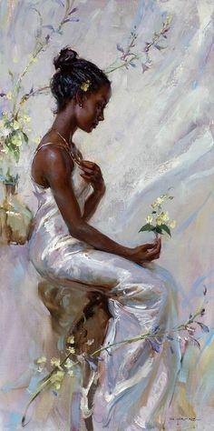 Blossom by Artist Daniel Gerhartz. Black Girl Art, Black Women Art, Black Art, Aesthetic Painting, Aesthetic Art, Rennaissance Art, Renaissance Paintings, Classical Art, Art Abstrait
