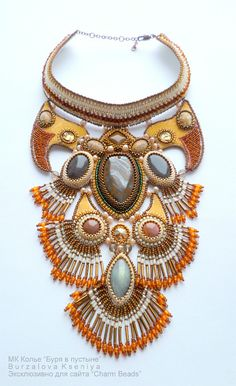 Necklace | Xenia Burzalova. 'Desert Storm'.  For those interest, she has included a full how to for this necklace.