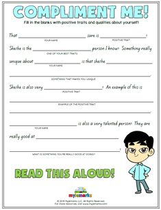 Boost your child's self-esteem with this fun and interactive worksheet from Mylemarks! #selfesteem #selflove #compliments #mylemarks