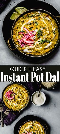 Instant Pot Dal comes together with minimal effort with the help of your electric pressure cooker. These delicious bowls of dal are topped with quick-pickled red onion and tangy yogurt for an unforgettable, vegetarian meal that's perfect for Meatless Monday or any day of the week. // indian // recipe // yellow // easy Indian Food Recipes, Vegetarian Recipes, Ethnic Recipes, Quick Pickled Red Onions, Best Pressure Cooker Recipes, Air Fryer Recipes, Instant Pot, The Help, Favorite Recipes