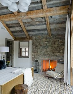 """perhaps the perfect bedroom. Something about this... so restful, uncluttered, textural contrast    """"Rustic Redux"""""""