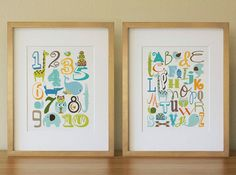 Alphabet Number Animals Nursery Wall Art Print, Baby Boy, Kids Room Decor Poster, Set of two on Etsy, $35.00