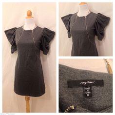 MYSTREE Gray Puff Sleeved Zip Front Club Dress M #Clubwear
